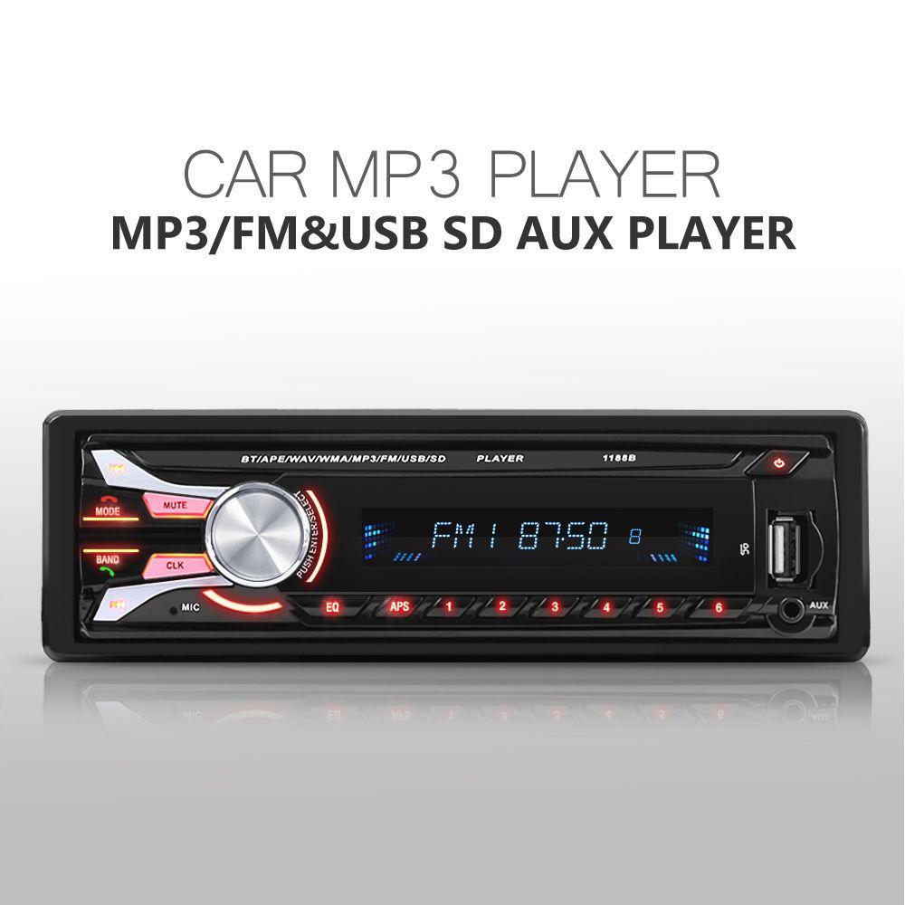 Новый автомобиль fm Радио 12 В Bluetooth V2.0 съемная передняя Панель Авто аудио стерео SD MP3-плееры AUX USB руки- звонок бесплатный 1188B радио
