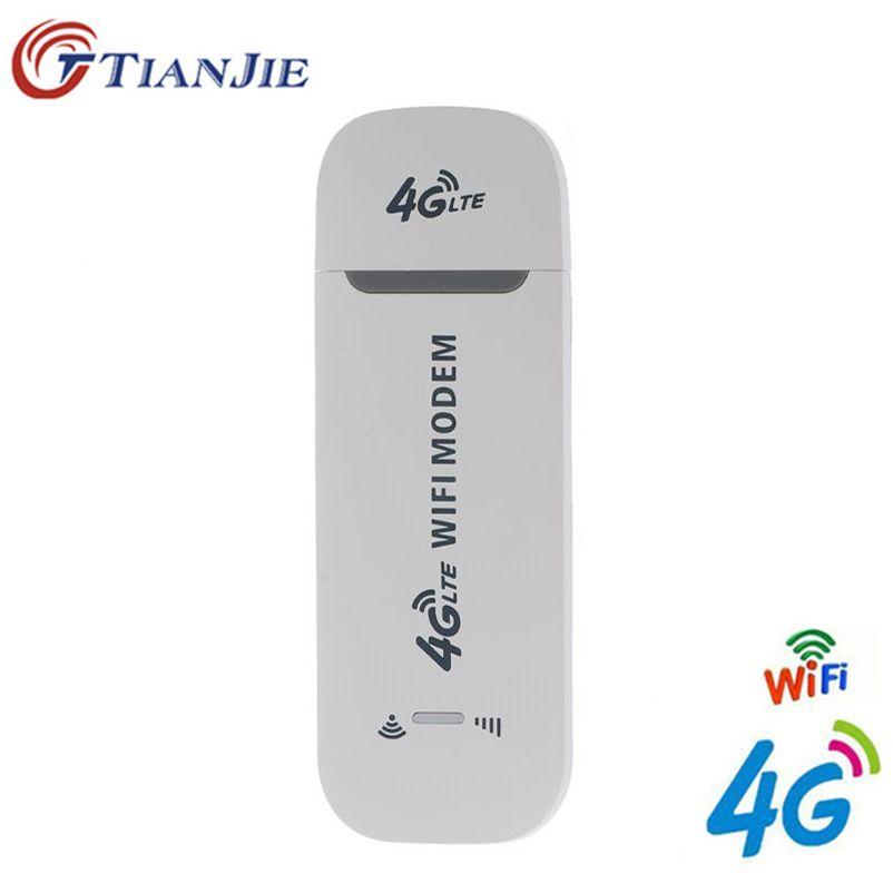 TianJie 4G WiFi routeur 100 Mbps USB Modem sans fil haut débit Mobile Hotspot LTE 3G/4G Dongle de déverrouillage avec fente SIM carte de Date