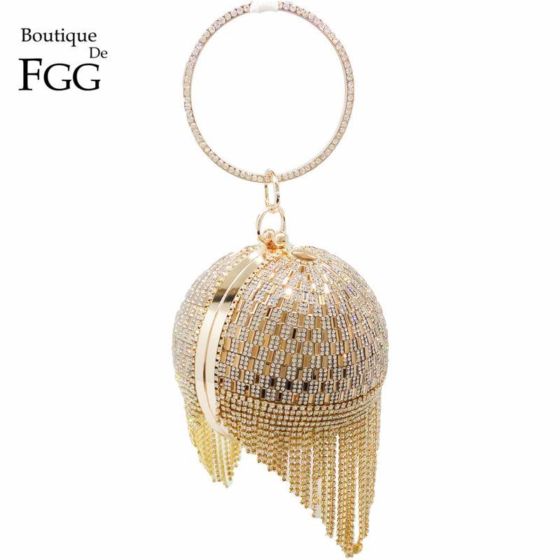 Or diamant gland femmes fête métal cristal embrayages sacs de soirée sac de mariage mariée épaule sac à main bracelets pochette