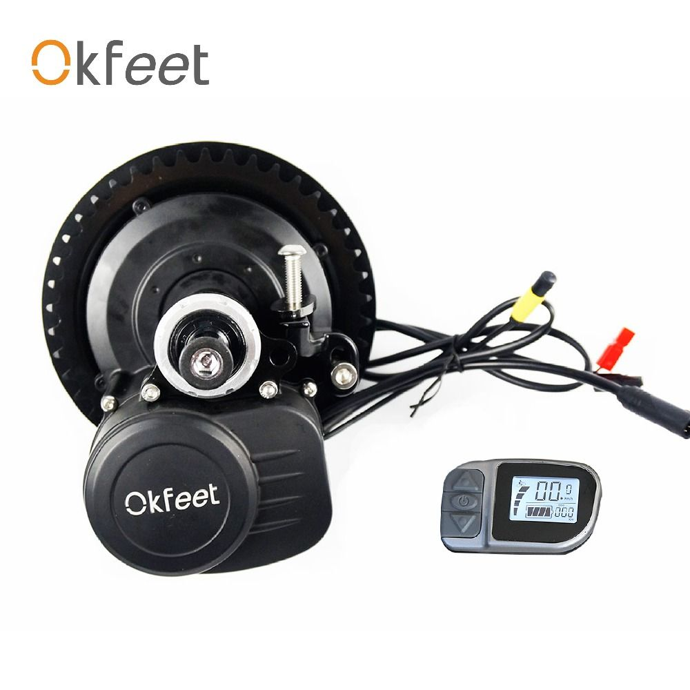 okfeet free custom tax TSDZ2 Midmotor VLCD6 36/48V 250/350/500W electric bicycle Kit Torque Sensor LCD display