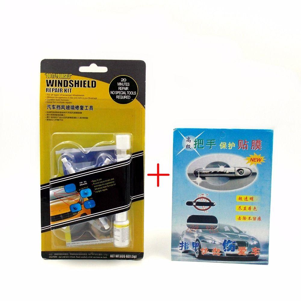 Date bricolage voiture Kit de réparation de pare-brise outil Auto pare-brise puces et fissures outils de réparation ensemble/cadeau porte poignée autocollant de protection
