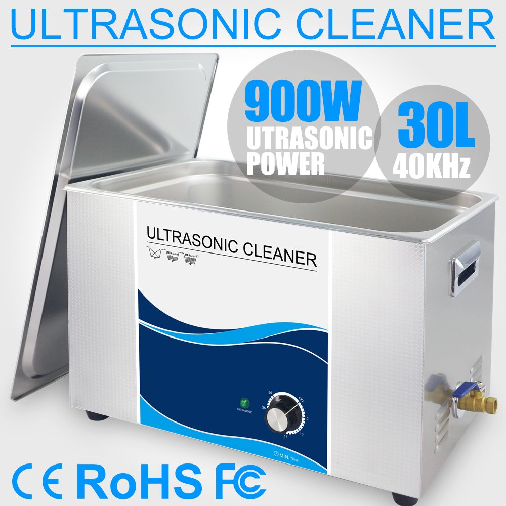 30L Ultraschall Reiniger Edelstahl Reiniger Bad 40 khz Timer Power 110 v 220 v Motor Auto Injektor Labor Werkzeuge medizinische PCB Board