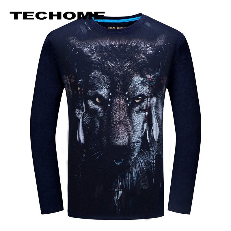3D Camiseta Para Hombre de manga Larga Animal Chimpancé Tigre Lobo Serpiente Impreso Camisetas de Algodón para Hombres Casual Marca de Ropa de la Aptitud camiseta