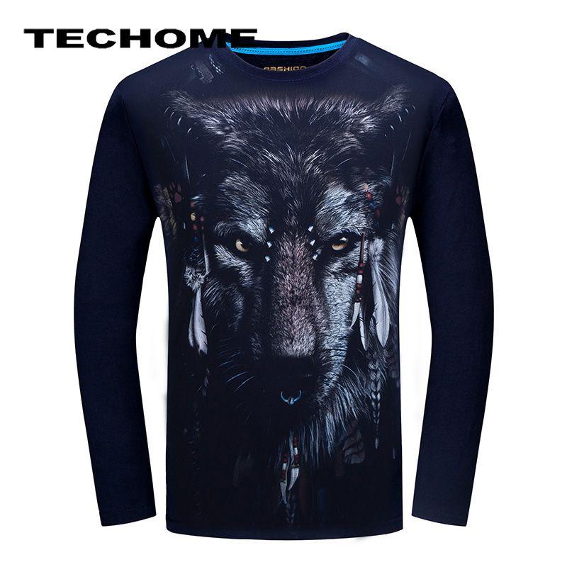 3D T-shirt Hommes manches Longues Animaux Chimpanzé Tigre Loup Serpent Imprimé T-shirts Hommes Coton Casual Marque Vêtements Fitness t-shirt