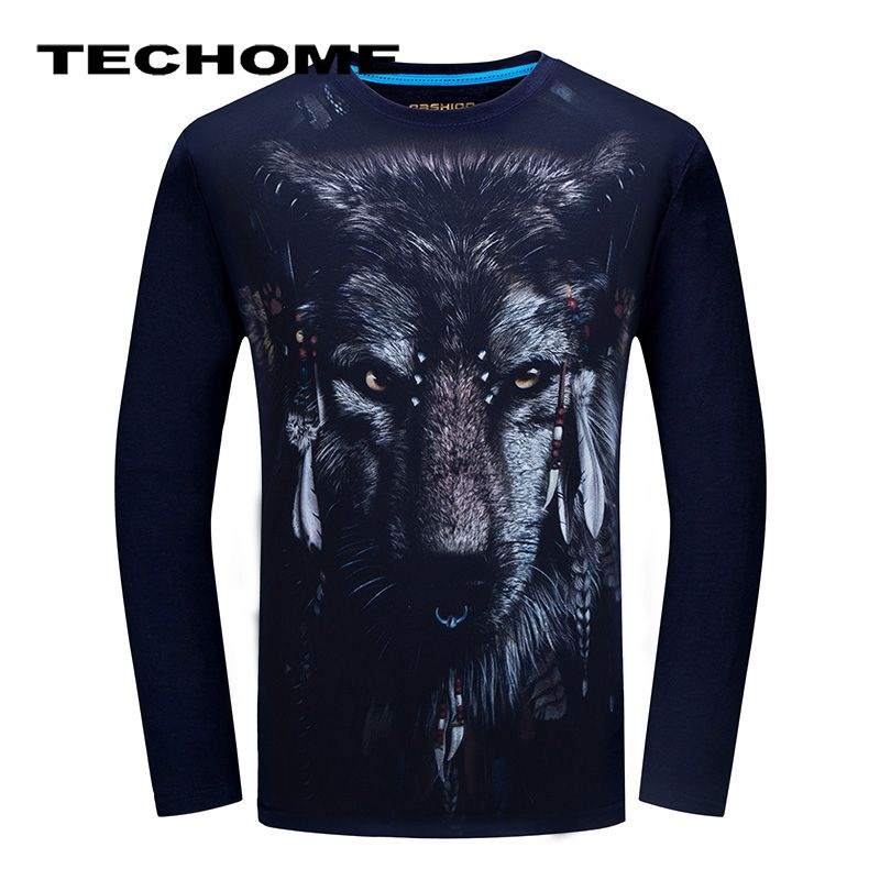 3D T-shirt  Mens Long sleeve Animal Chimpanzee Tiger Wolf Snake Printed T-shirts Men Cotton Casual Brand Clothes Fitness T shirt