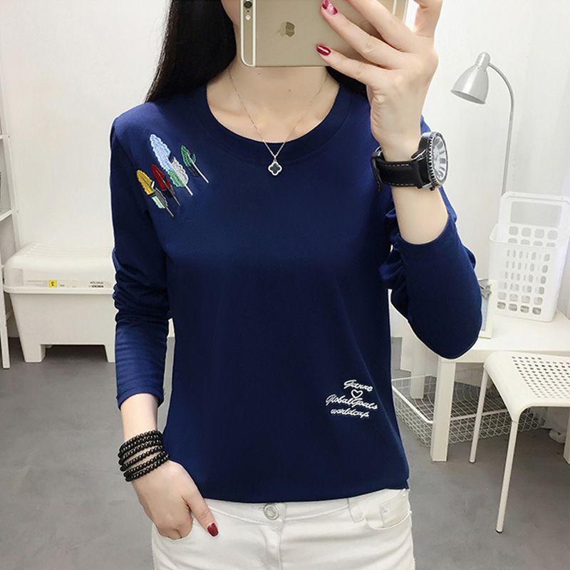 Reality pats 2019 New Korean Early Autumn Long Sleeve T-Shirt Women's Fat mm Loose 200 Jin Large Size Women's Fall Wear