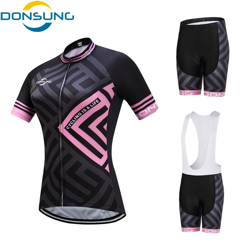 DONSUNG Brand Cycling Set Women 2017 Pro Bicycle Team MTB Cycling Clothing Short Sleeve Cycling Sets Summer Cycling Jersey Set