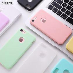 SIXEVE D'origine Etui En Silicone Souple pour iPhone 6 S 6 S 7 8 Plus 5 5S X 10 6 Plus 6 SPlus 7 Plus Mignon De Bonbons Anti-frapper en caoutchouc couverture