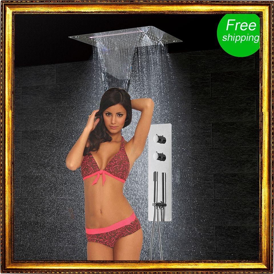 Badezimmer Garnitur Wand Montiert Wasserhahn Panel Tap Thermostatmischer Controller LED Decke Duschkopf Regen Wasserfall Nebel
