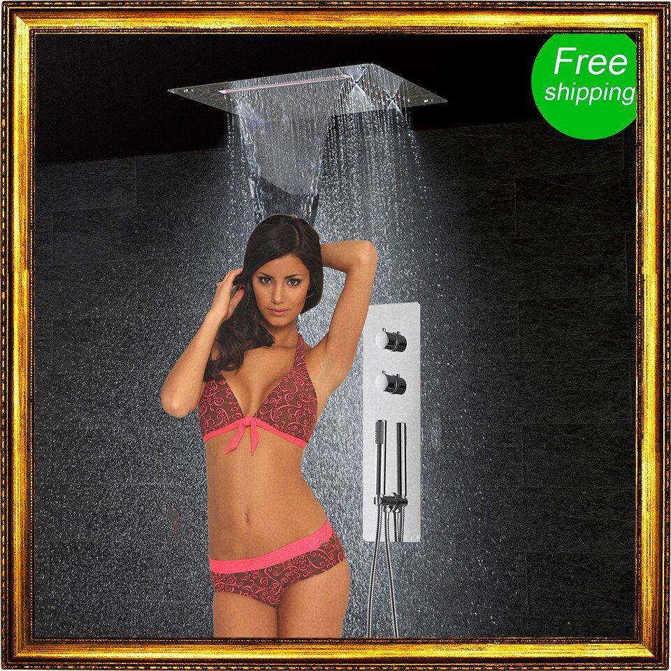 Bathroom Shower Set Wall Mounted Faucet Panel Tap Thermostatic Mixing Controller  LED Ceiling Shower Head Rain Waterfall Mist