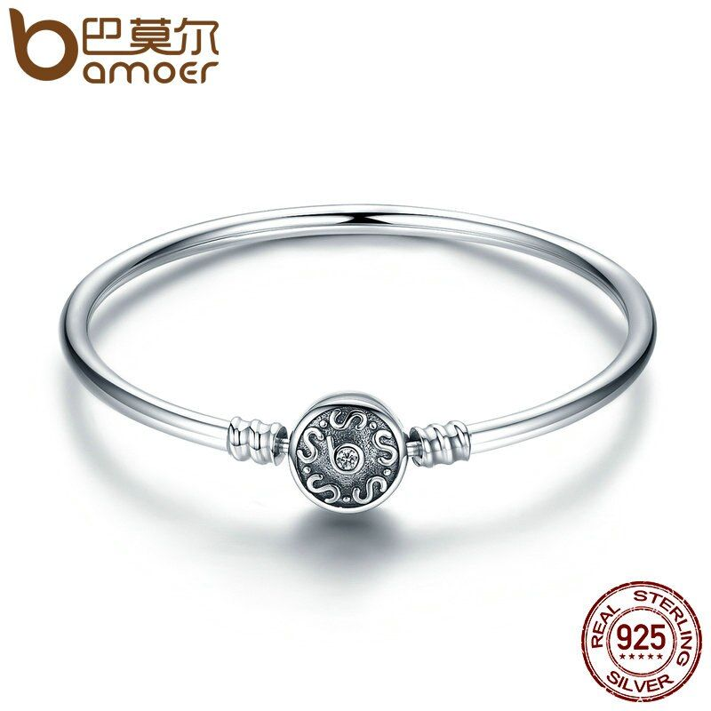 BAMOER Authentic 100% 925 Sterling Silver Classical Silver S Pave Vintage Snake Chain Bangle & Bracelet Luxury Jewelry SCB013