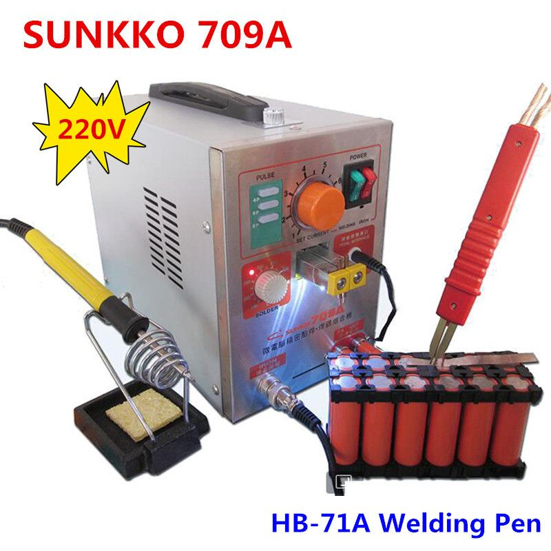 1.9kw SUNKKO LED Pulse Battery Spot Welder 709A Soldering Iron Station Spot Welding Machine HB-71A pen