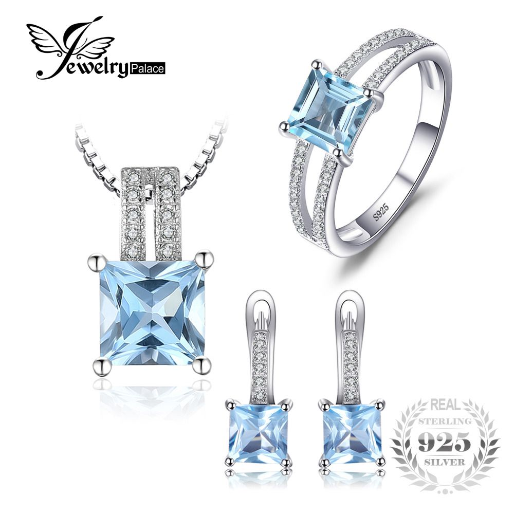 JewelryPalace 2.8ct Princess Cut Sky Blue Topaz Wedding Anniversary Ring Pendant Necklace Hoop Earrings 925 Silver Jewelry Sets