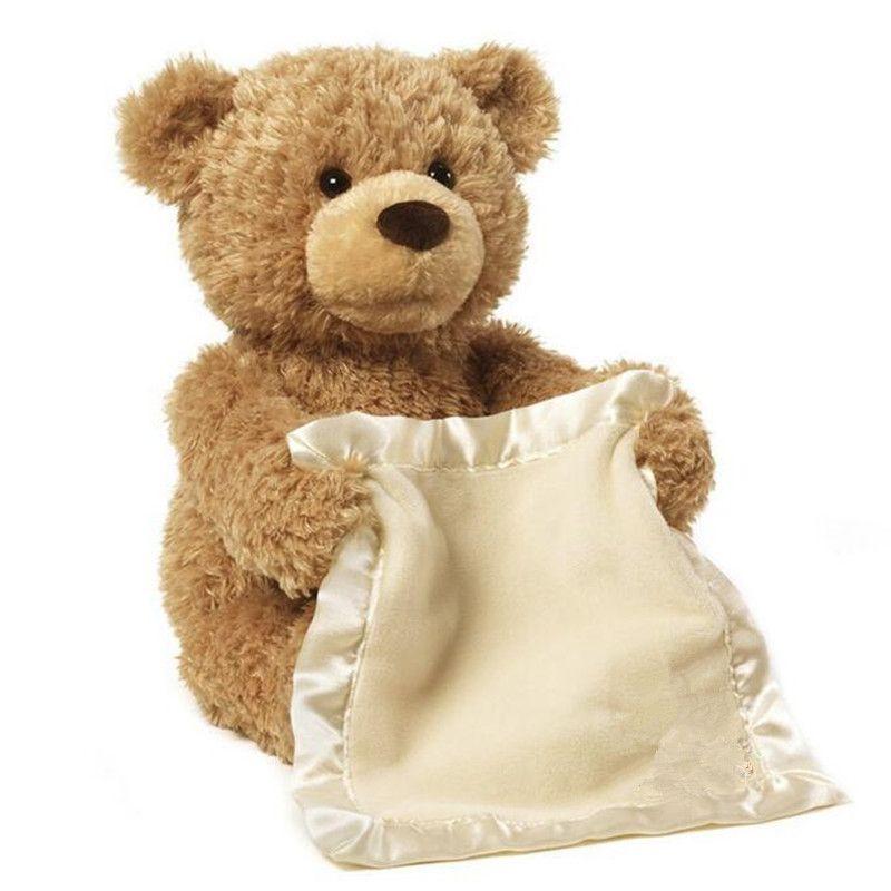 Hi Baby Peek Boo Teddy Bear Stuffed Animal Play Hide And Seek Lovely Musical Bear Doll Educational Toy 30cm