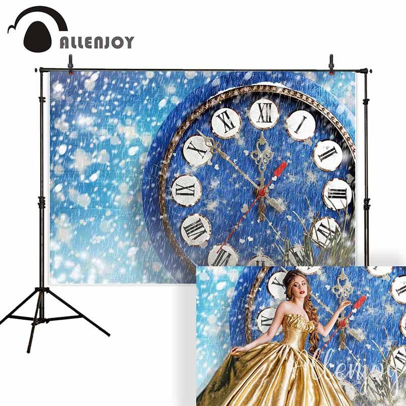Allenjoy background for photo studio Christmas snow blue clock new year princess backdrop photography photocall photobooth