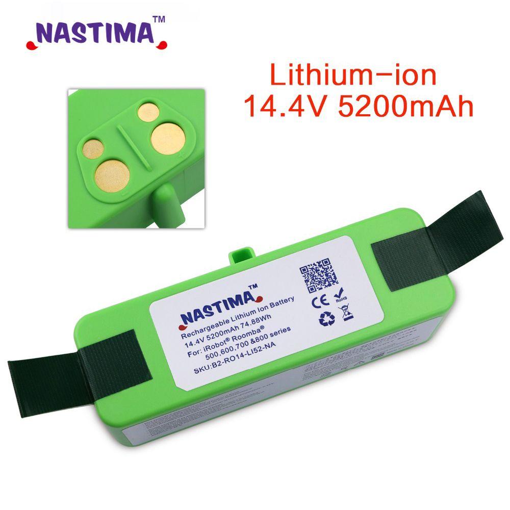 NASTIMA 14.4V 5200mAh Batterie De Remplacement Li-ion pour iRobot Roomba 500,600,700,800 et 980 série 600 620 650 700 770 780 800