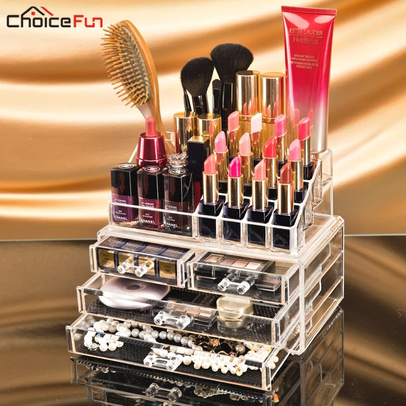 CHOICEFUN Transparent Plastic Home Drawer <font><b>Desk</b></font> Desktop Storage Box Organiser Clear Acrylic Makeup Make Up Organizer For Cosmetic