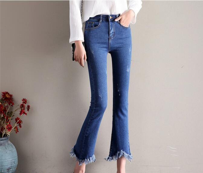 2018 spring women's new denim explosion models micro horn thin high waist nine pants