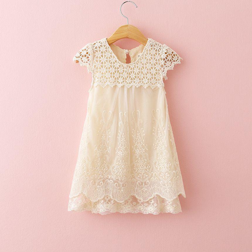 2016 Nouvelles Filles D'été Robe de Soirée Enfants Évider Dentelle Princesse Robe Bébé Fille O-cou Partie Robes Enfants Mode Vêtements