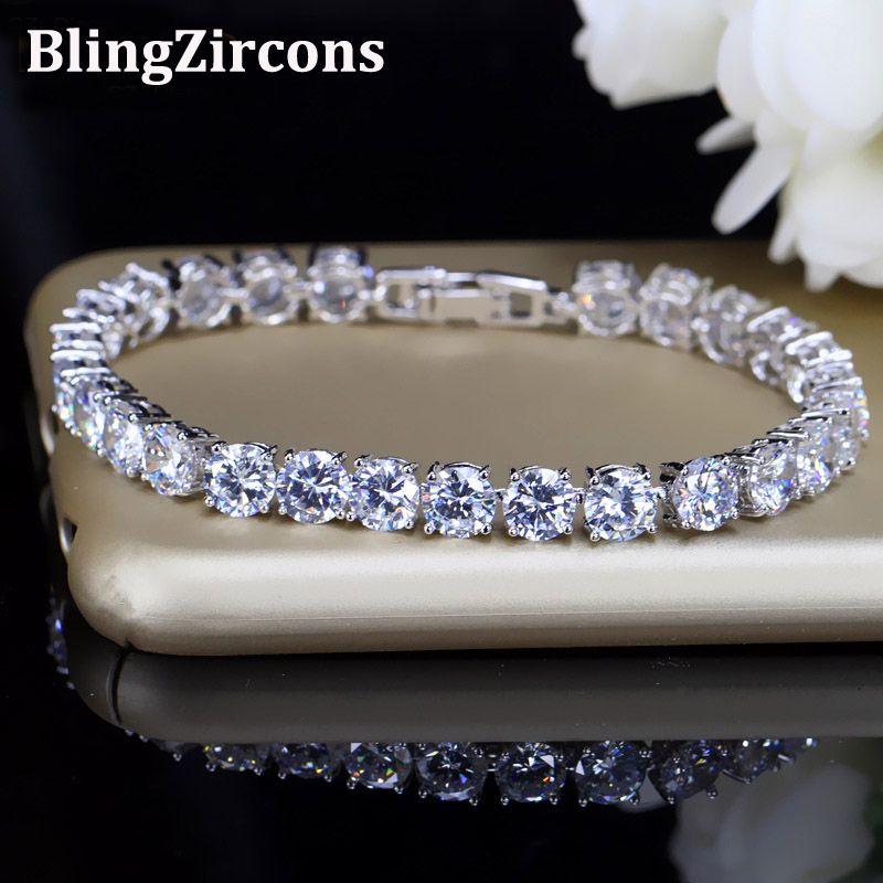 BlingZircons Demoiselles D'honneur De Luxe CZ Bijoux En Cristal Brillant 6mm Big Carat Round Cut Zircon Cubique De Tennis Bracelet Pour Les Femmes B018