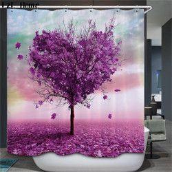 Caliente Bañeras Sala Cortinas de ducha colore árbol diseño de poliéster impermeable Bañeras Cortinas con Ganchos Bañeras producto Rideau ducha