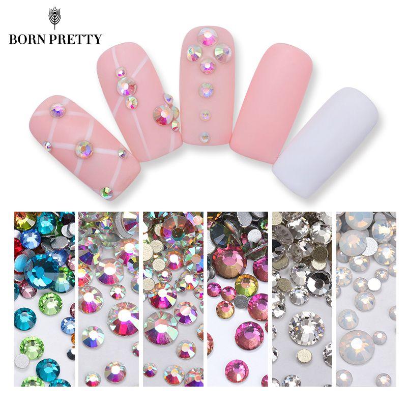 1 Beutel AB Farbe Weiß Opal Nagel Kristall Strass Glänzende flachen Boden Multi-Größe Nail art 3D UV Gel DIY Dekoration maniküre