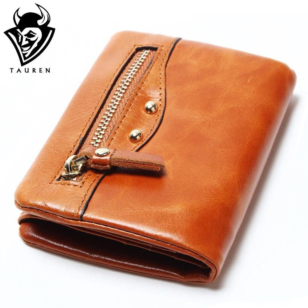 Retro Cow Genuine Leather Women Fashion Solid Hasp Wallets 100% Oil Wax Leather Women Wallet Lady Short Card Holder Purse