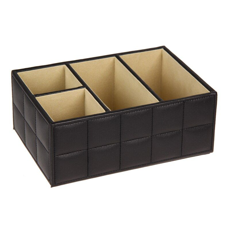 PU Leather Storage Boxes Luxury Remote Control Phone Holder Home Office Car Organizer Cosmetic Make Up Container <font><b>Black</b></font> White