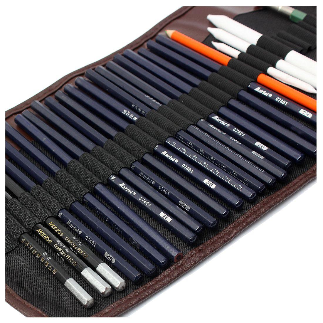 18x Croquis Crayons + Charbon De Bois Crayon Gomme Kit Artisanat D'art pour le Dessin Esquisse