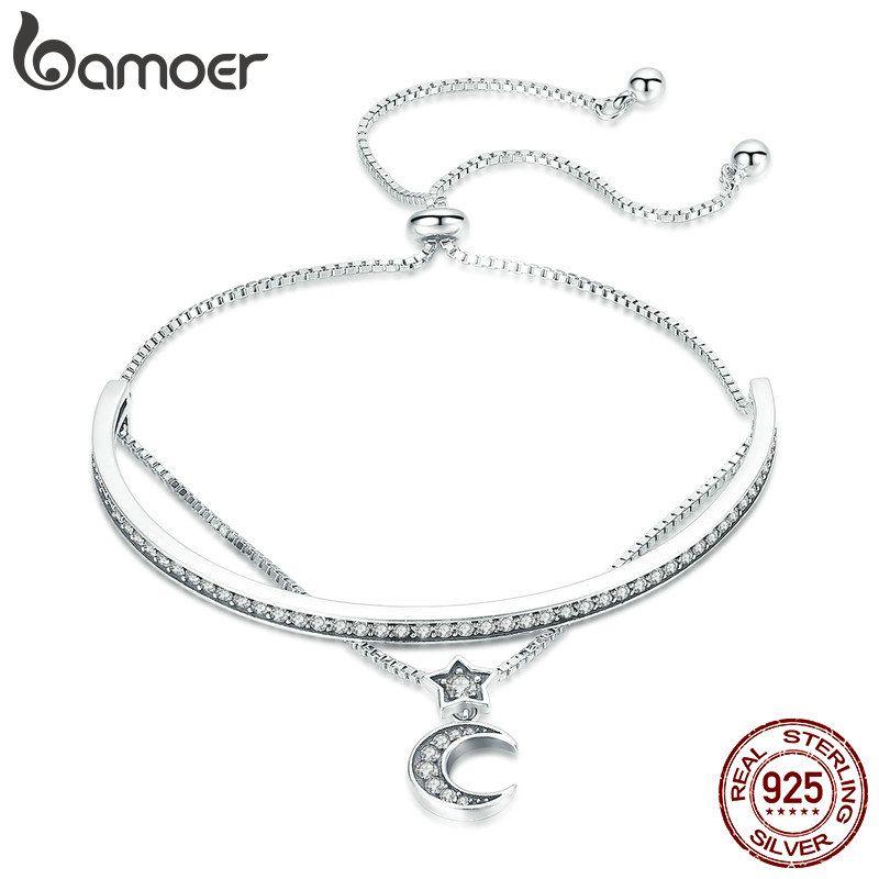 BAMOER Hohe Qualität 925 Sterling Silber Doppel Schichten Mond Klar CZ Armreifen Armbänder für Frauen Sterling Silber Schmuck SCB109