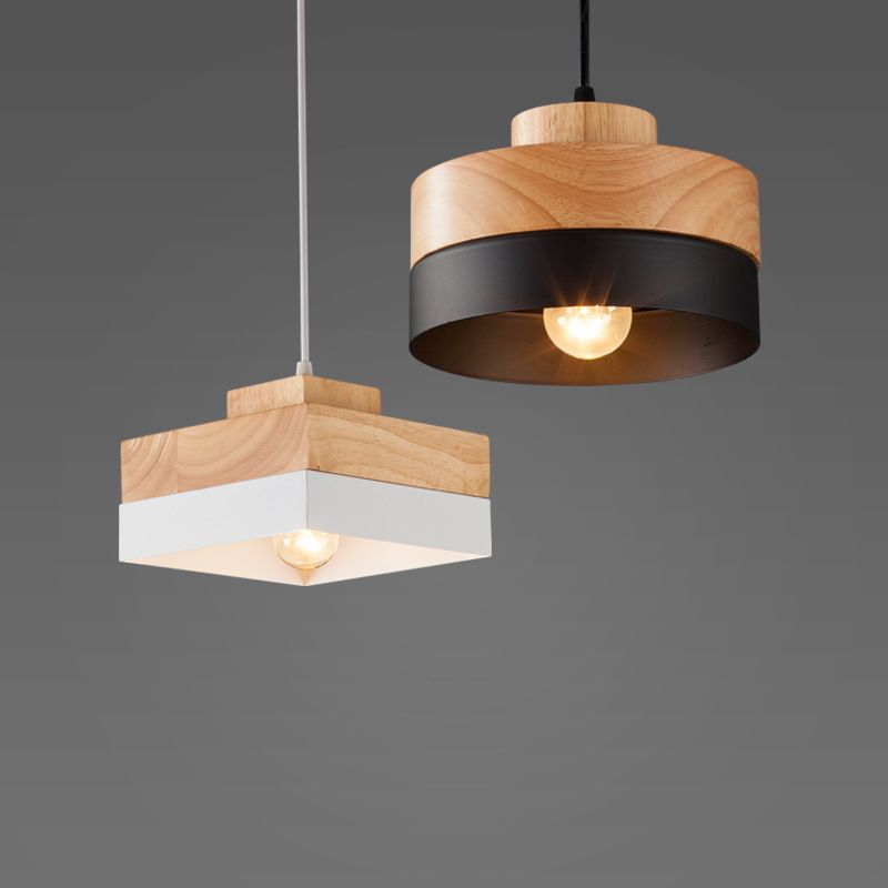Nordic Solid Wood Pendant Light simple dining room Light Personality E27 creative modern bedroom balcony lamp with bulb