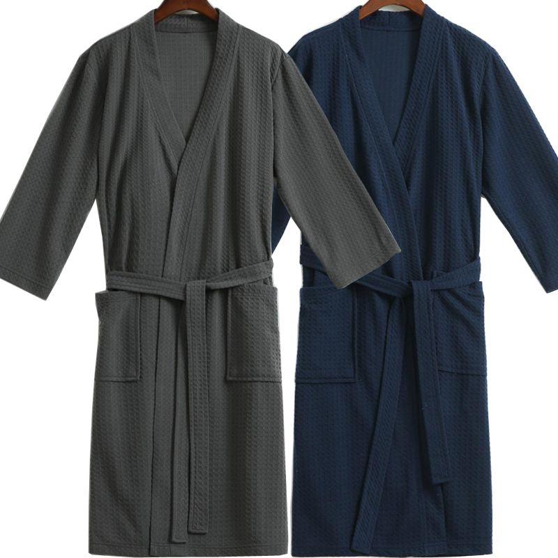 Hommes Gaufre Peignoir Aspirer L'eau Élégant Peignoir Mâle Nuit Robe de Chambre Hommes Plus La Taille Kimono Robes Classique Salon de Vêtements De Nuit