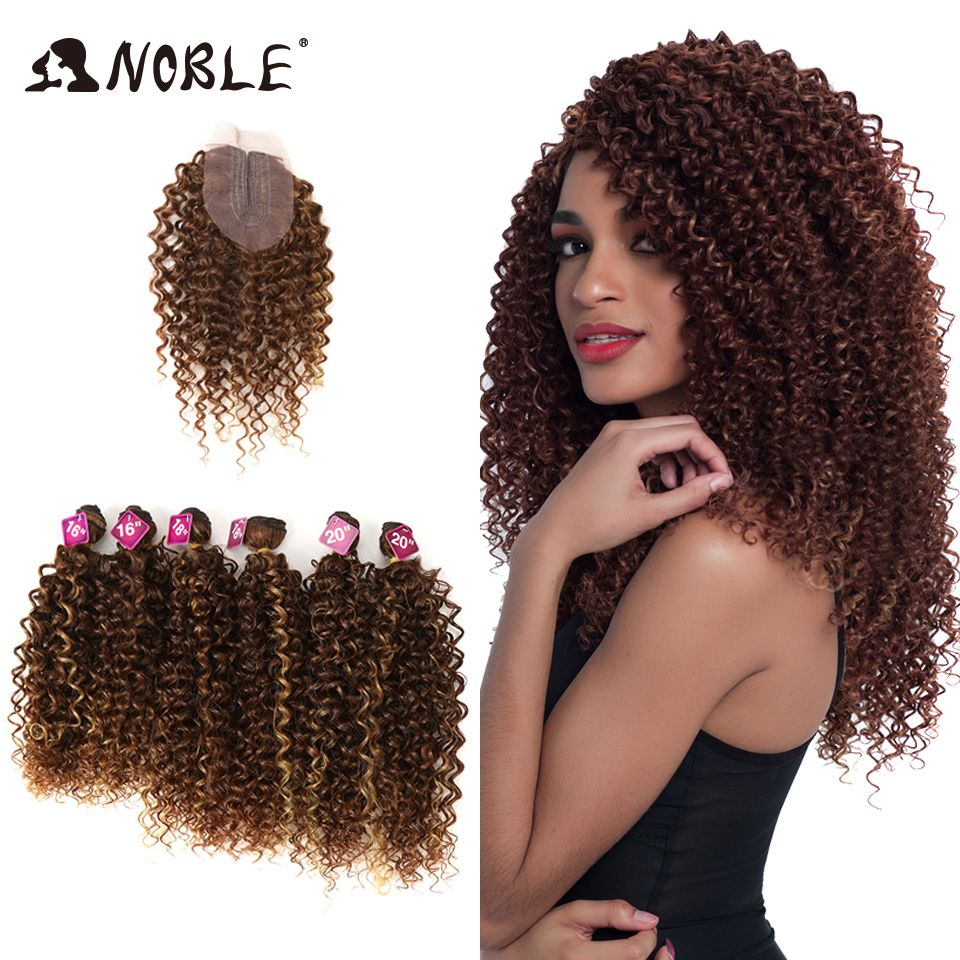 Noble Afro Kinky Curly Hair 16-20 inch 7Pieces/lot Synthetic Hair Middle Part Lace Front Closure Bundles With Closure 240g