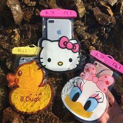 Dibujos Animados Micky Minnie Kitty Doraemon impermeable caso móvil para el iPhone Samsung Coin bolsillo almacenamiento teléfono bolsas bolsa