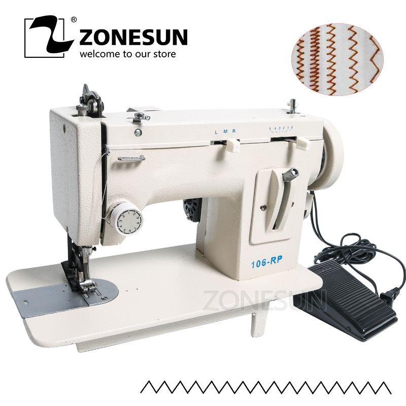 ZONESUN 106-RP Haushalt Nähmaschine Pelz Leder Fiel Kleidung Verdicken Nähen Werkzeug Dicken Stoff Material Reverse ZAG Stich D