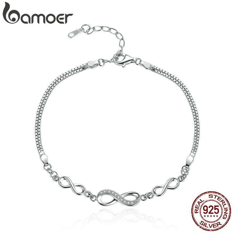 BAMOER authentique 925 argent Sterling sans fin amour infini chaîne lien réglable femmes Bracelet luxe bijoux en argent SCB037