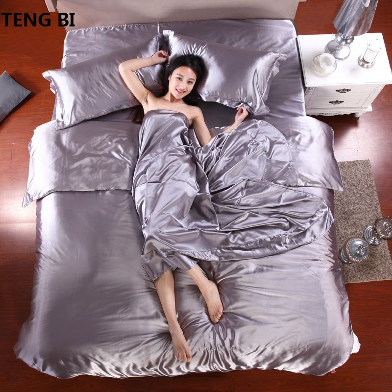 HOT! 100% pure satin silk bedding set,Home Textile Full/Queen/King size bed sheet,bedclothes,duvet cover flat sheet pillowcases