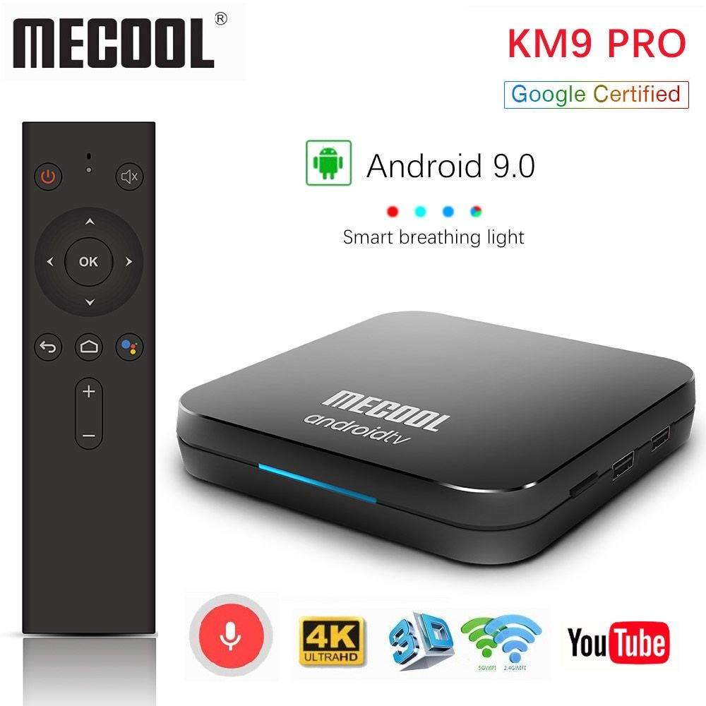 Androidtv 9.0 Google Certified MECOOL KM9 PRO 4GB 32GB Android 9.0 TV Box Amlogic S905X2 4K Voice 2.4G 5G Dual Wifi BT4.0 KM9ATV
