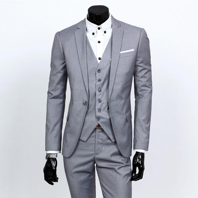 (jacket+pants+tie) 2017 Custom made Mens Light Grey Suits Jacket Pants Formal Dress Men Suit Set men wedding suits groom tuxedos