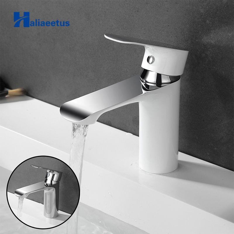 Haliaeetus robinet d'évier de salle de bain robinet de salle de bain froid et chaud mitigeur d'eau chromé robinet d'eau blanche robinet de bassin en laiton mitigeur
