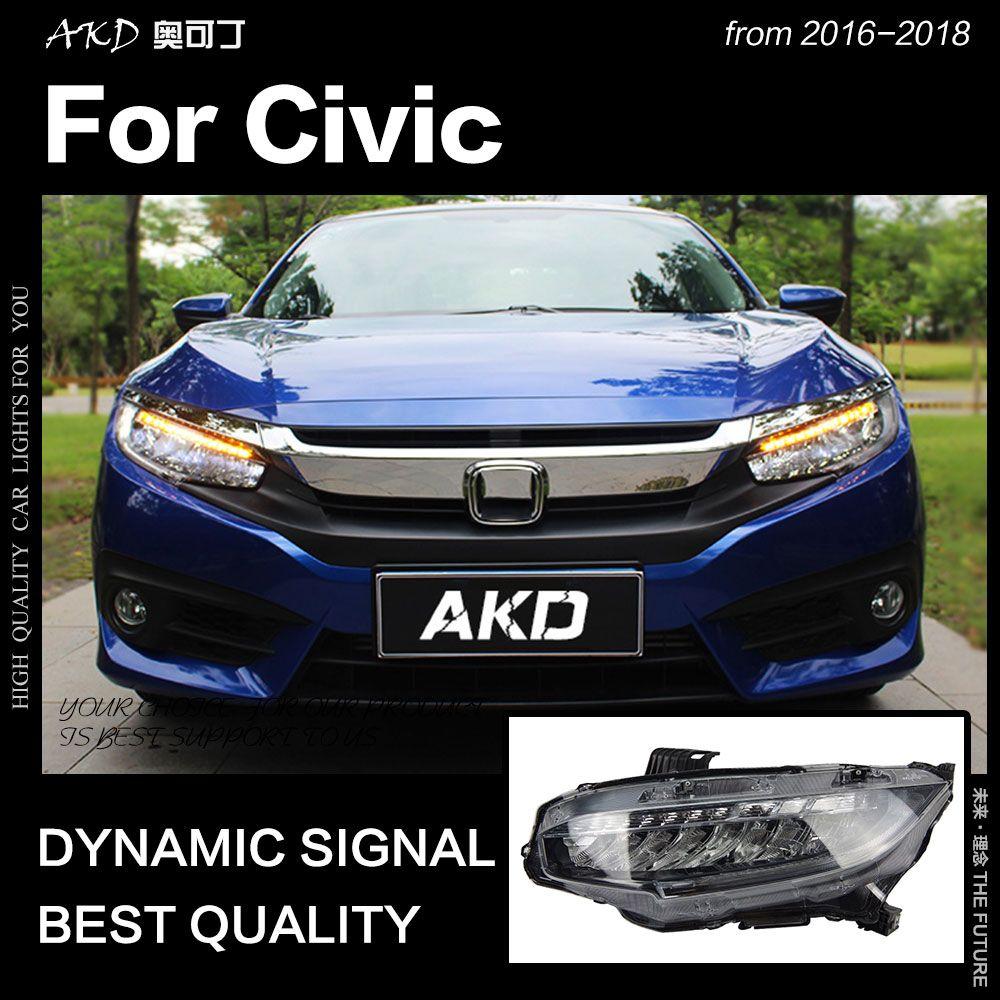 AKD Auto Styling für Civic Scheinwerfer 2016-2018 Neue Civic X LED Scheinwerfer LED DRL Hid Kopf Lampe Engel auge Bi Xenon Zubehör