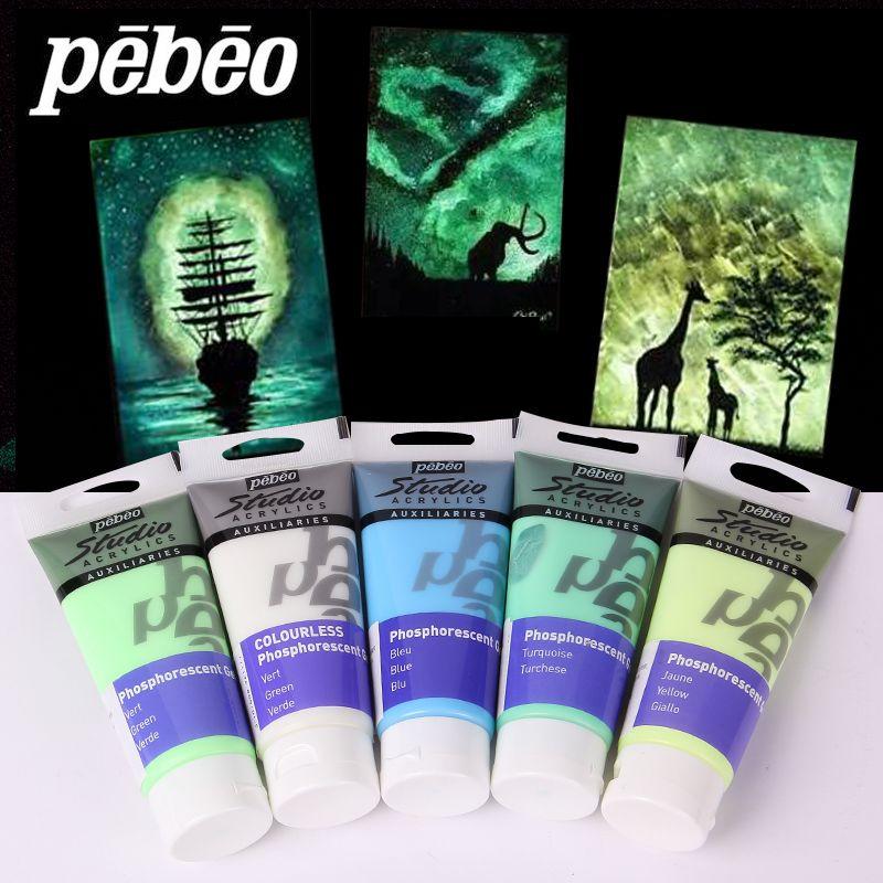 Peinture acrylique pebeo 100 ML brillent dans les peintures rougeoyantes sombres peinture de Fiber fluorescente de Pigment lumineux pour des fournitures d'art de tissu