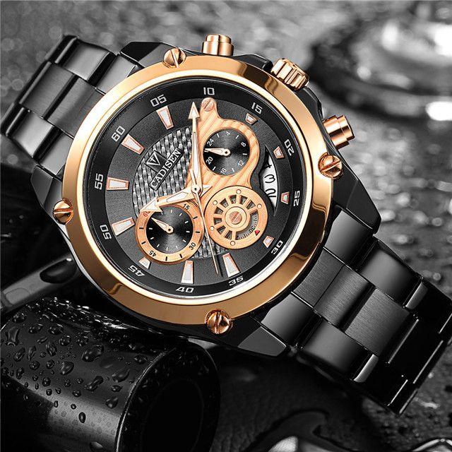 CADISEN Top Brand Luxury Mens Watch Full Steel Waterproof Sport Watches Fashion Quartz Military Wrist Watch Relogio Masculino