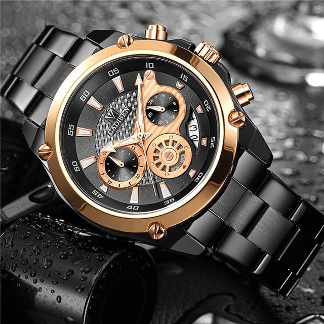 CADISEN Top Brand Luxury Mens Watch Full Steel Waterproof Sport Watches Fashion Quartz Military Wrist Watch Relogio Masculino