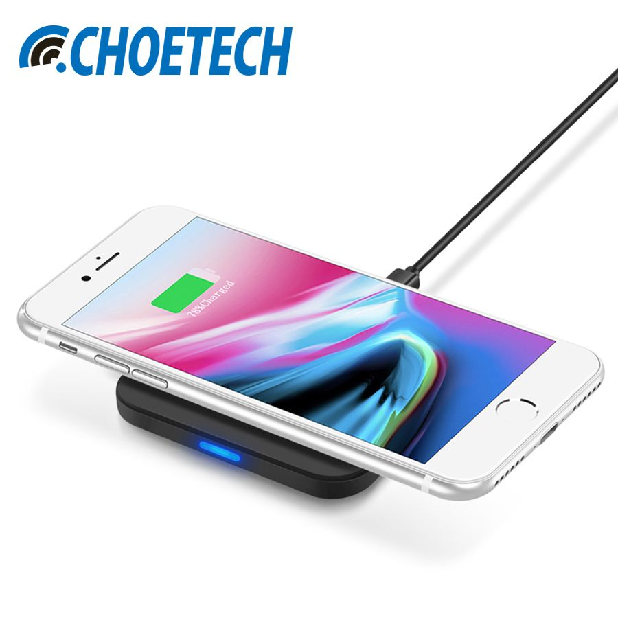 CHOETECH Qi Wireless Charger For iPhone X 8 8Plus 5W Universal QI Wireless Charging Pad For Samsung Galaxy S8 Plus