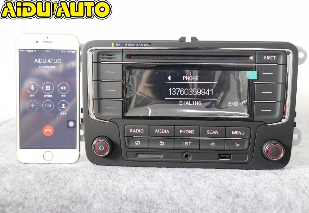 AIDUAUTO utilisé RCN210 Bluetooth lecteur MP3 USB CD MP3 Radio pour VW Golf 5 6 Jetta Mk5 MK6 Passat B6 CC B7