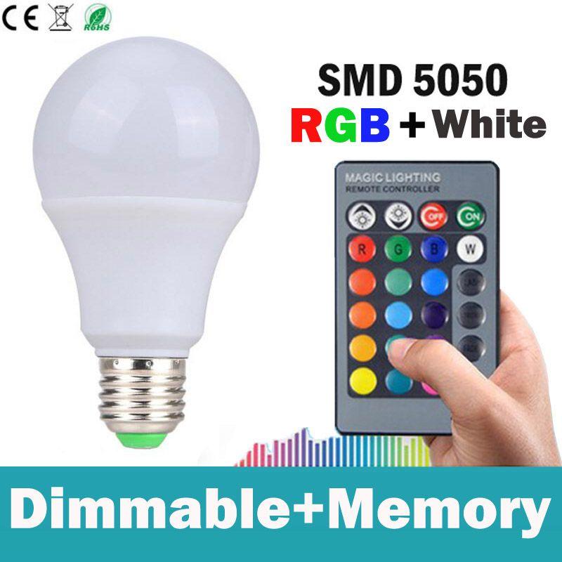 E27 RGBW LED 5 W 10 W 15 W coloré LED ampoule lampe AC 85-265 v rgb LED Spot avec télécommande barre de LED rgb éclairage blanc