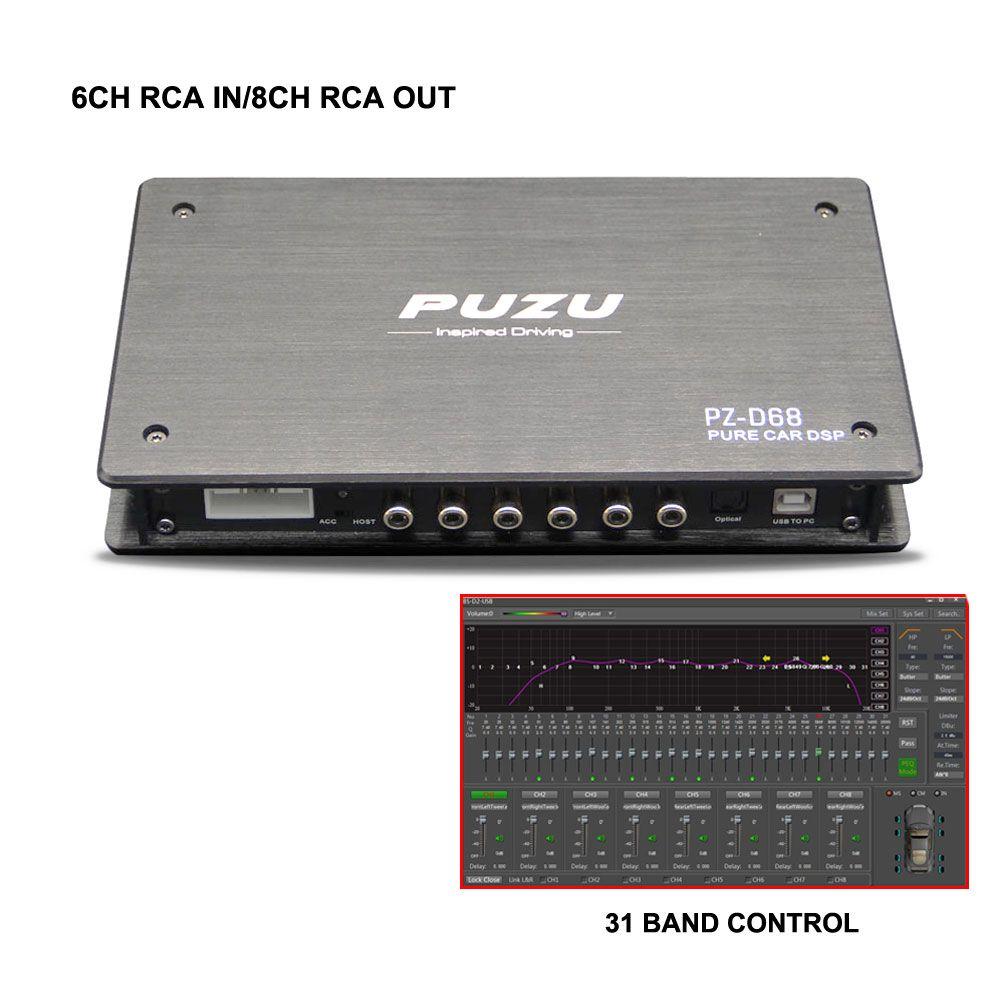 PUZU Reine Digitale signal prozessor 6CH zu 8CH Auto DSP 31 band EQ tuning unterstützung computer software einstellung