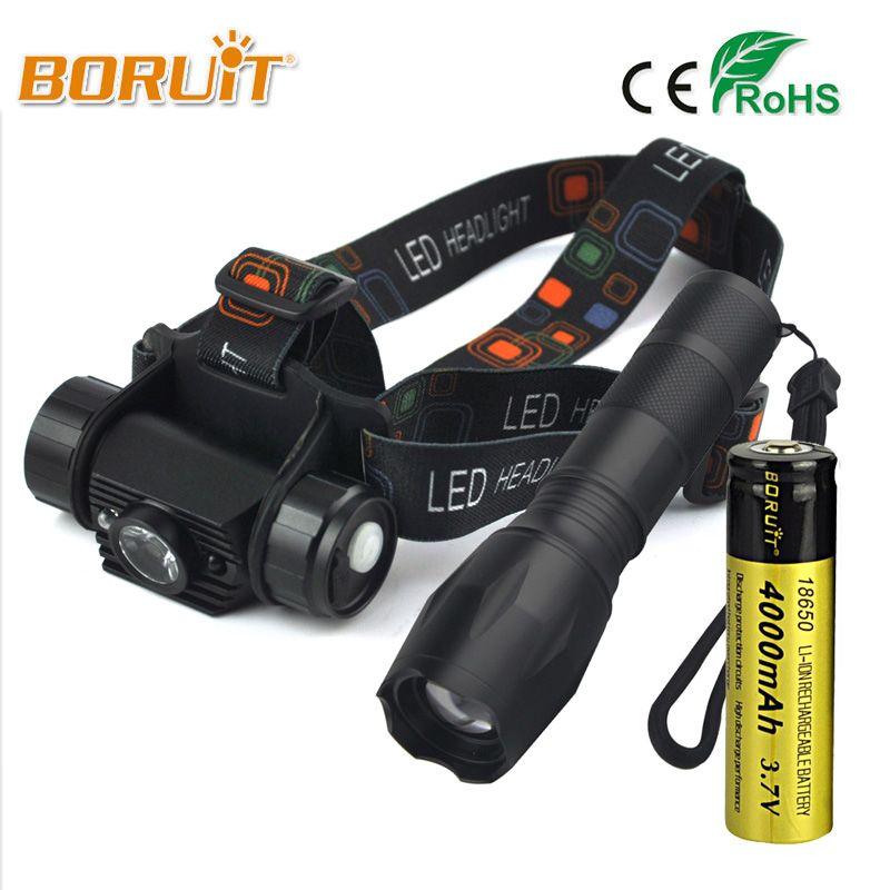 BORUIT 1 Modus Wiederaufladbare Bewegungssensor LED Scheinwerfer Taschenlampe Stirnlampe Licht 18650 Batterie Camping Angeln Jagd Scheinwerfer
