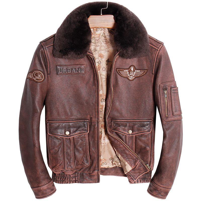 HARLEY DAMSON Vintage Brown Men Pilot Leather Jacket Wool Collar Plus Size 3XL Genuine Cowhide Russian Flight Leather Coat